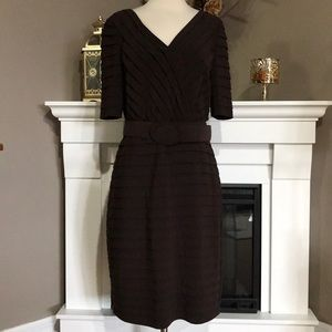 Adrianna Papell Brown Belted Short Sleeve Dress